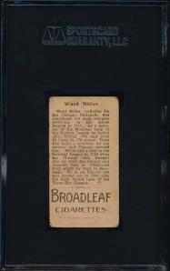 1912 T207 Miller Back